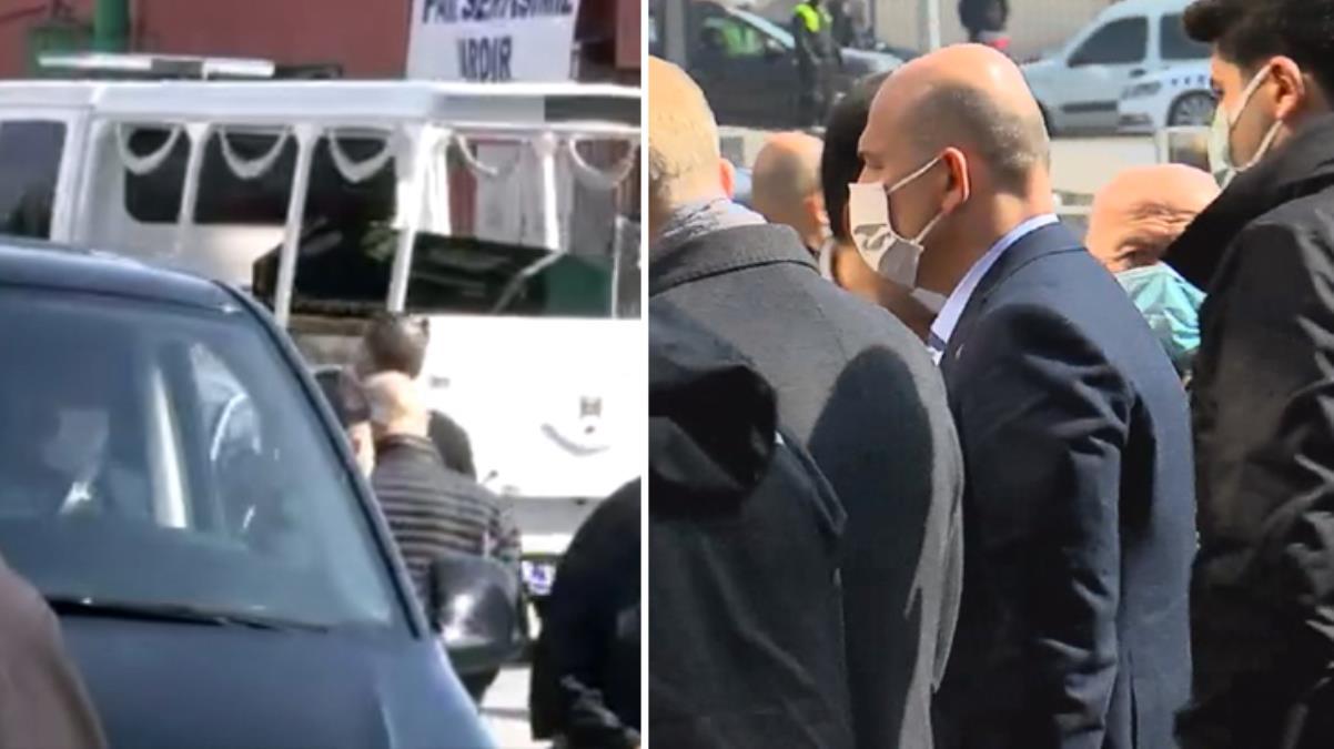 Annesinin cenazesini alan Bakan Soylu, hastaneden cenaze aracıyla ayrıldı